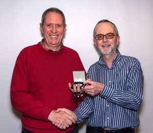 "Gordon Gentles from Havant CC being presented with a PAGB Gold Medal for his print ""Tranquillity"" Pic by Steve Frost"