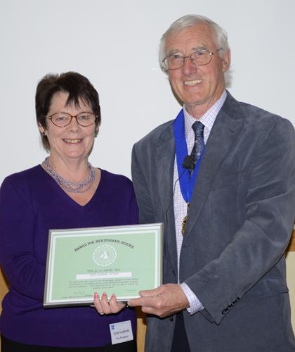 Lynn Lambeth receiving here APAGB from John Hodge