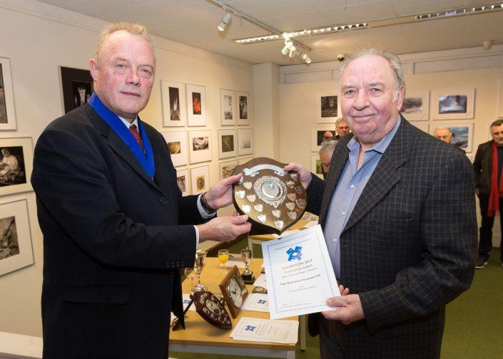 Presentation of trophy for best club print panel to Highcliffe & Infinity CC President –John Livy